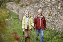 Alemanha, Rheingau, feliz casal sênior caminhando juntos — Fotografia de Stock