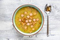 Kartoffelsuppe mit Lauch, Karotte und Wienerle — Stockfoto