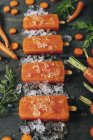 Close up of  Carrot ice popsicles — Stock Photo