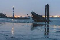 Німеччина, Гамбург, Blankenese, маяк і крах Уве у вечірній час — стокове фото