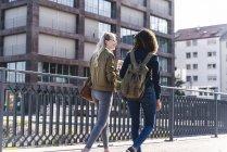 Друзі прогулянки по мосту, говорячи, веселяться, заднього виду — стокове фото