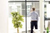 Businesman standing by windoy, talking on the phone, rear view — Stock Photo
