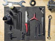 Visão aérea do conjunto de ferramentas de bicicleta — Fotografia de Stock