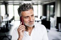 Retrato de empresário maduro no celular no escritório — Fotografia de Stock