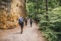 Allemagne, Saxe, Elbe Sandstone Mountains, amis en randonnée — Photo de stock