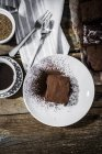 Homemade brownie on plate — Stock Photo