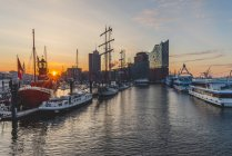 Germany, Hamburg, Niederhafen and Elbe Philharmonic Hall at sunrise — Stock Photo