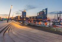 Germany, Hamburg, Vorsetzen, view to Niederhafen and Elbe Philharmonic Hall in the morning light — Stock Photo
