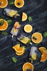 Homemade detox popsicles with blueberries, orange slices and mint leaves on black wood — Foto stock