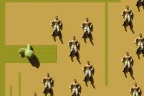3D Rendering, homem forte com calças wrestler coração verde e maçã falsa, repetição — Fotografia de Stock