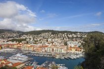France, Provence-Alpes-Cote d'Azur, Nice, Cityscape and Port Lympia from above — Stock Photo
