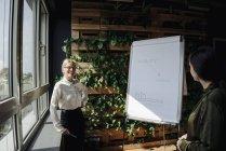 Две деловые женщины, работающие с флип-чартом в зеленом офисе — стоковое фото