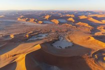 Africa, Namibia, Namib desert, Namib-Naukluft National Park, Aerial view of desert dunes, Nara Vlei and Sossus Vlei and 'Big Mama', Dead Vlei and 'Big Daddy' in the morning light — Stock Photo