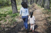 Мать и дочь прогуливаются в парке, вид сзади — стоковое фото