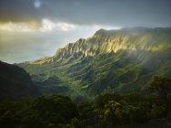 США, Гаваї, Кауаі, Долина Калалау, парк штату Кокі, вид з повітря — стокове фото