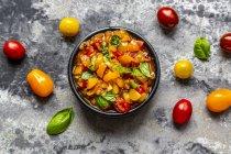 Close up of Bowl of tomato basil dip — Stock Photo