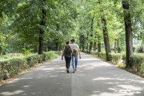 Vista trasera de la joven pareja gay con mochilas caminando de la mano en el camino - foto de stock