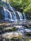 Новая Зеландия, Южный остров, Катлинс, водопад Пуракаунуи — стоковое фото