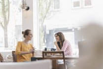 Дві подруги зустрічі в кафе, говорячи — стокове фото