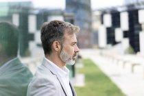 Spain, Barcelona,profile of bearded businessman — Stock Photo