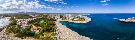 Spagna, Maiorca, Portocolom, Veduta aerea di Punta des Jonc, Baia di Cala Marcal , — Foto stock