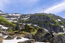 Svizzera, Vallese, ruote eoliche a Nufenen-Pass — Foto stock