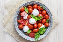 Italienische Küche, Kapern, Mozzarella und Tomaten und Basilikum — Stockfoto