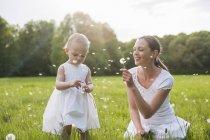 Мать и дочь с мячами на лугу летом — стоковое фото