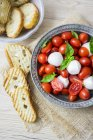 Italian food, caprese, mozzarella and tomatoes and basil — Stock Photo