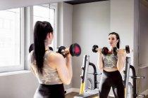 Женщина поднимает гантели в спортзале, глядя в зеркало — стоковое фото