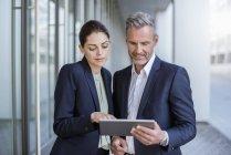 Portrait de deux partenaires commerciaux regardant ensemble la tablette — Photo de stock