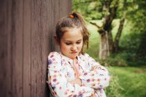 Portrait of little girl pouting mouth — Stock Photo