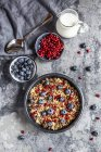 Müslischale mit Heidelbeeren und Granatapfelkernen — Stockfoto