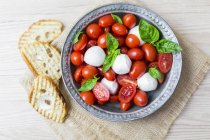 Comida italiana, caprese, mozzarella y tomates y albahaca - foto de stock