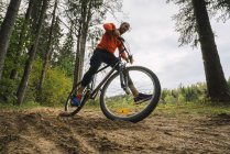 Male athlete mountain biking in woods — Stock Photo