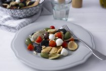 Orecchiette Mediterrâneo com tomates, azeitonas, mozzarella — Fotografia de Stock
