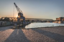 Germany, Hamburg, Bill harbour at sunrise — Stock Photo