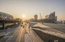 Germany, Hamburg, Elbpromenade in the morning — Stock Photo