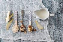 Ingrédients de muesli de fruit, plan rapproché — Photo de stock