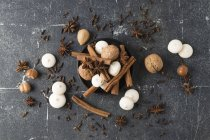 Spices, nuts and aniseed biscuit on grey ground — Stock Photo