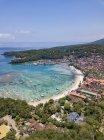 Indonesia, Bali, Veduta aerea di Padangbai, baia, spiaggia — Foto stock