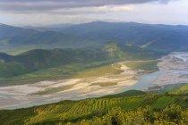 Албания, Fier County, Вид от Byllis к реке Aooes в утреннем свете — стоковое фото