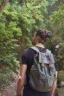 Человек ходит с рюкзаком в зеленом лесу — стоковое фото