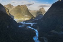 New Zealand, South Island, Fjordland National Park, Aerial view of Milford Sound — Stock Photo