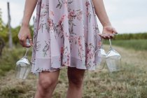 Woman carrying wine glasses at picnic — Stock Photo