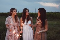 Friends having a picnic in a vinyard, burning sparklers — Stock Photo