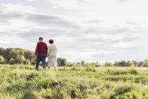 Senior couple walking in green field under cloudy sky — Stock Photo