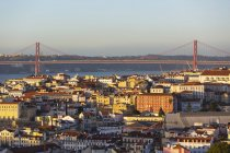 Portugal, Lisbon, cityview with 25 de Abril Bridge — стокове фото