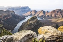 Africa, Sud Africa, Mpumalanga, Panorama Route, Riserva Naturale del Blyde River Canyon, Tre Rondavel — Foto stock