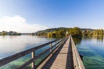Switzerland, Thurgau, Lake Constance, Rhine river, View to Island Werd, footbridge — Stock Photo